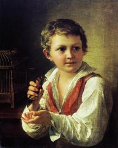 В. Тропинин.«Мальчик, выпускающий из клетки щегленка»